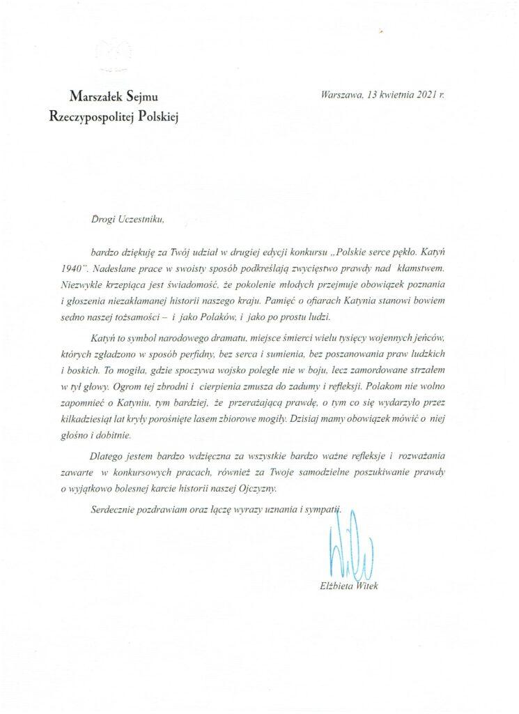 List od Marszałka Sejmu